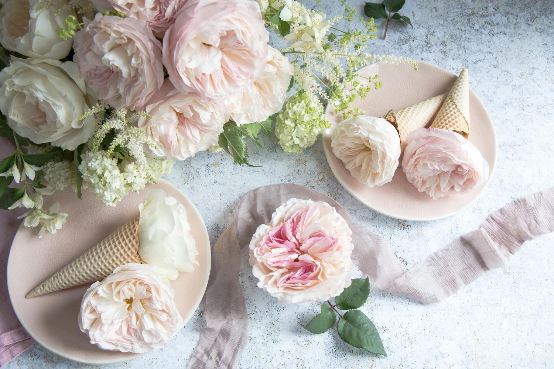 Keira Blush Roses ICe Cream Design Floral Decoration Inspiration
