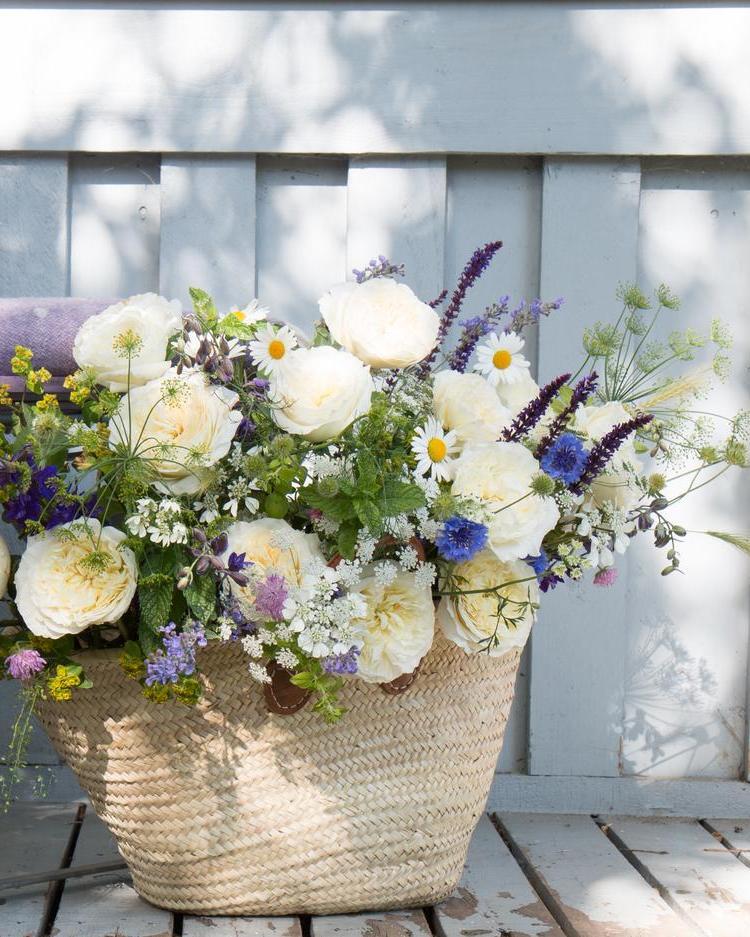 Patience Cream Roses Summer Basket Outdoor Celebrations