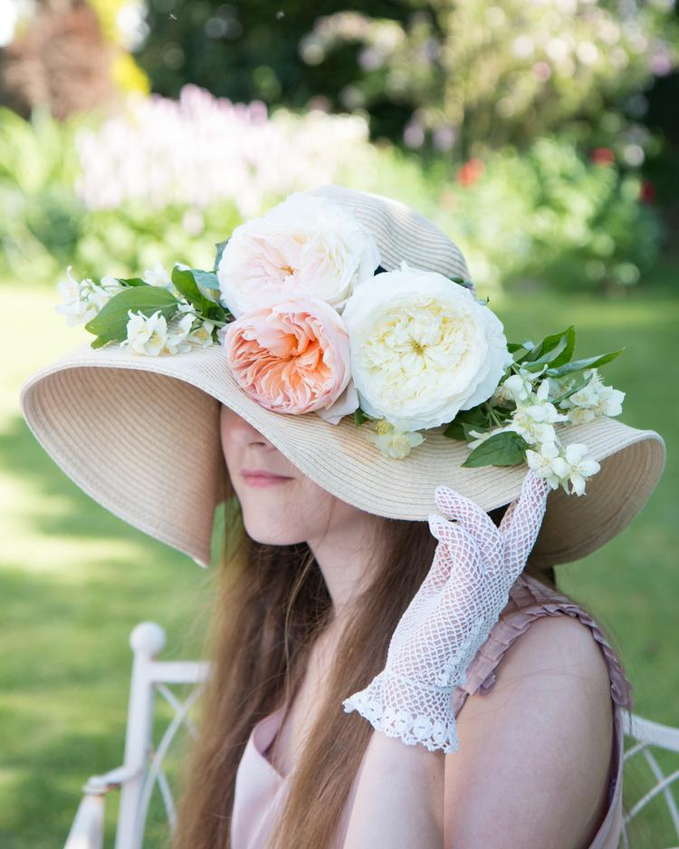 Juliet and Patience Roses Floral Hat Design