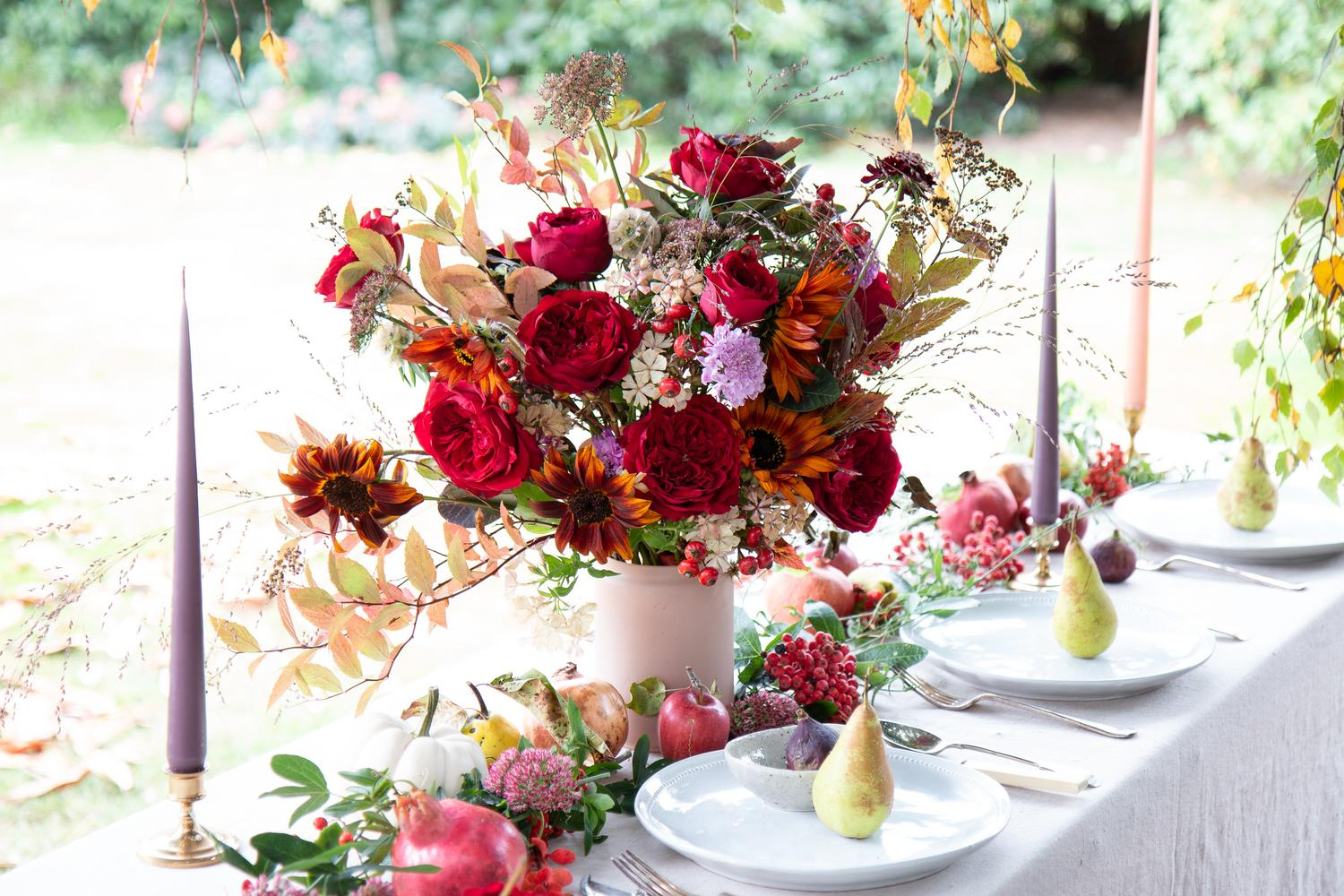 Tess Red Roses Outdoor Wedding Celebration Table Design