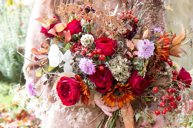 Tess Red Roses Autumn Wedding Bouquet