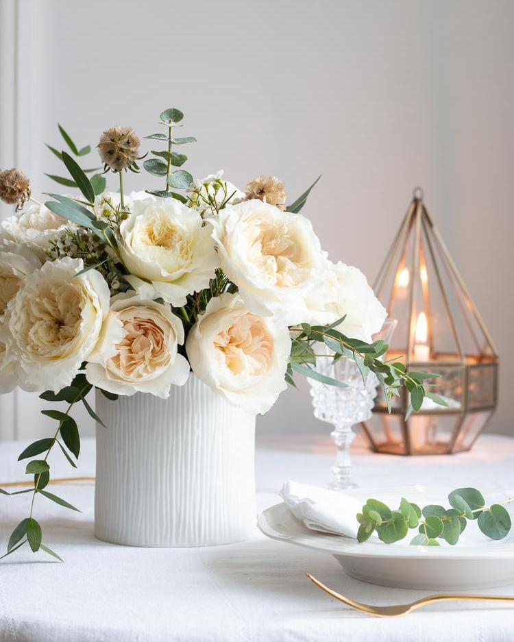 White Christmas Floral Table Decorations with White Roses