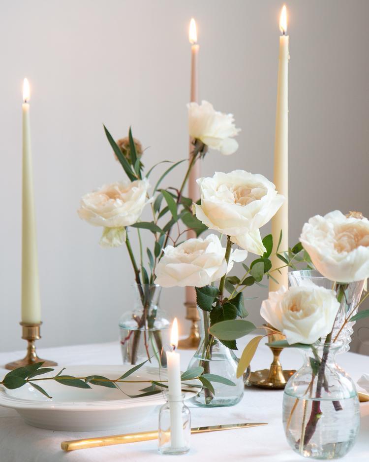 White Christmas Single Stems Vase Arrangement
