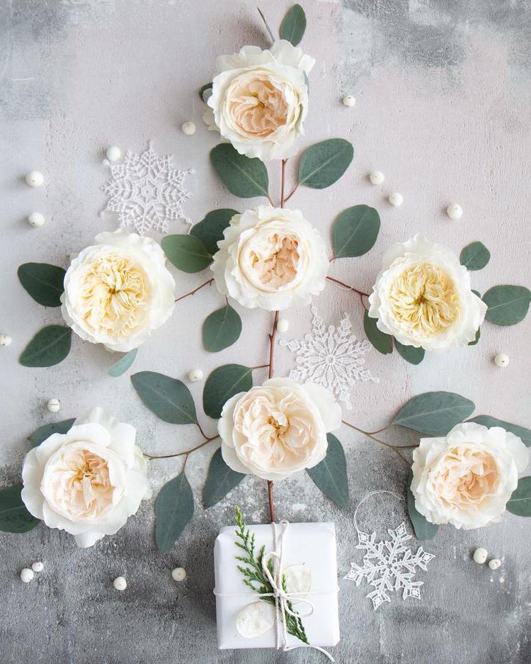 White Christmas Tress Flatlay Design with White Roses