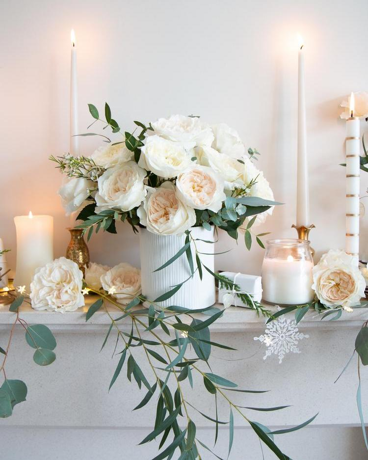 White Christmas Home Decorations with White David Austin Roses
