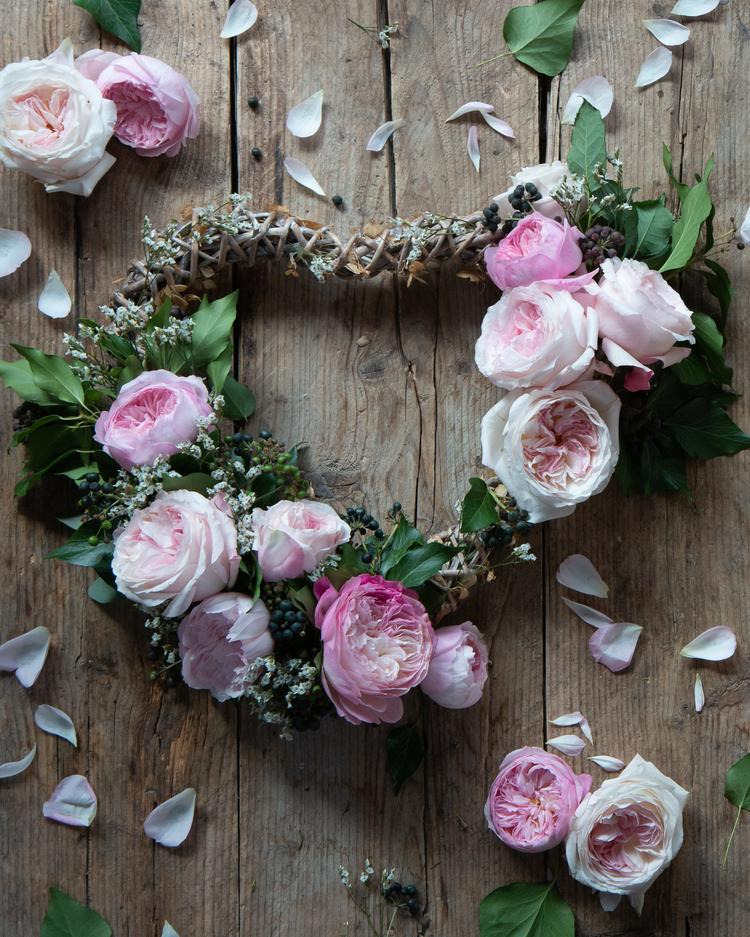 Heart Shaped Wreath for Valentines Day with Pink Roses