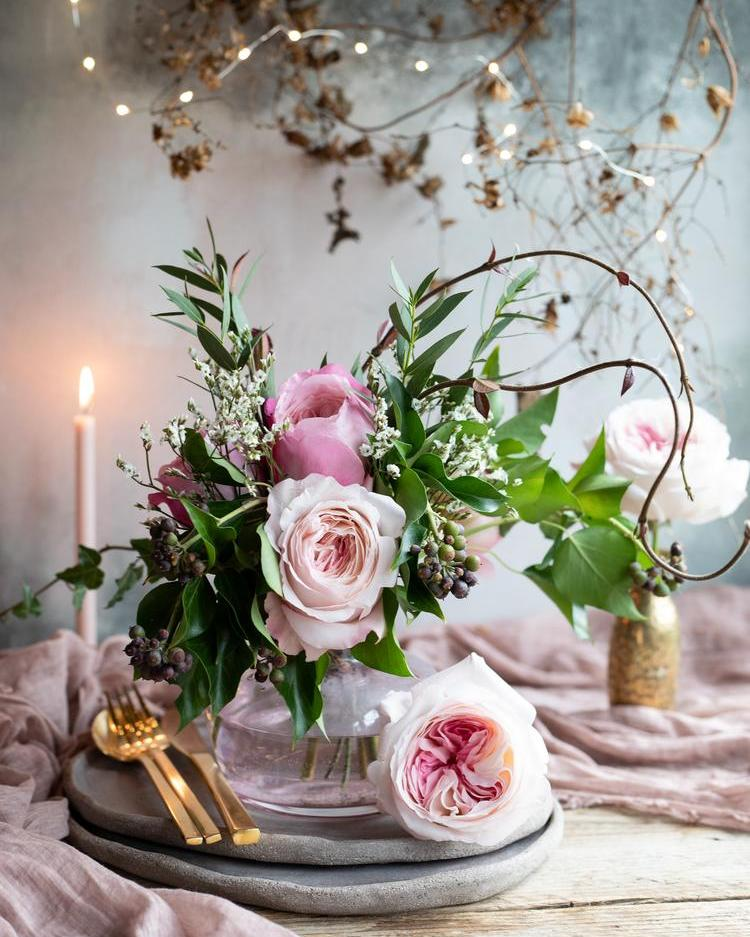 Pink Keira Roses for Valentines Romantic Dinner Setting