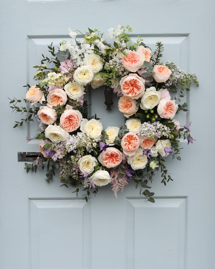 Door Wreath Design with David Austin Roses