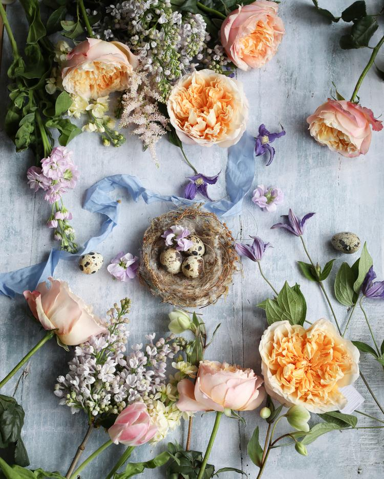 Edith Roses Flatlay Styling for Easter