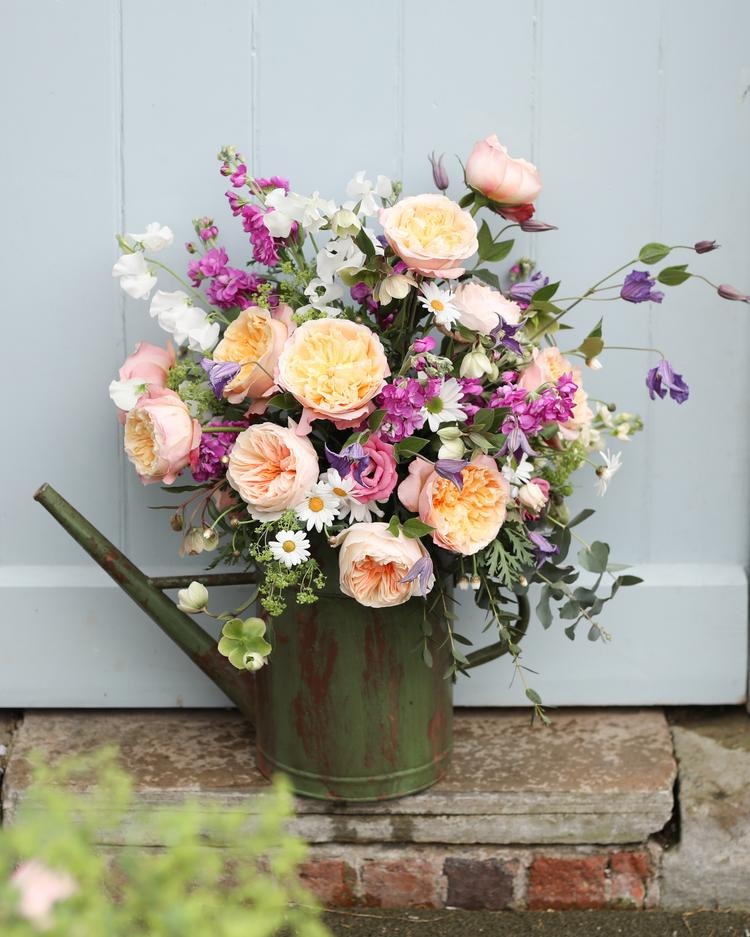 Roses in a Watering Can Design