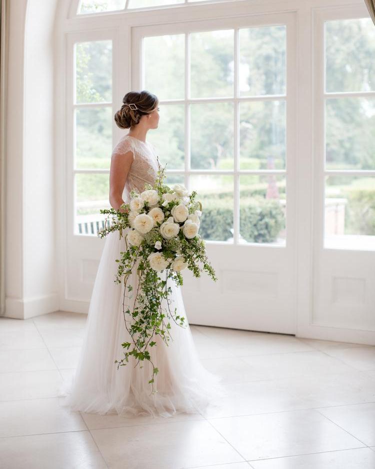 Leonora Roses White Wedding with Large Bridal Bouquet