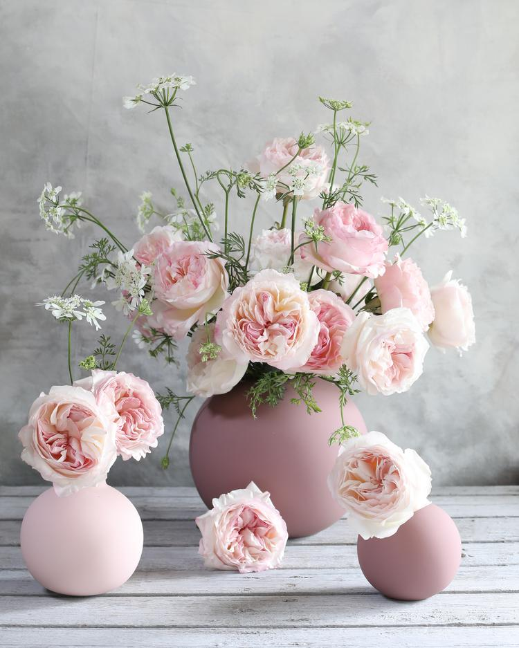 Keira Pink Roses in Small Vases