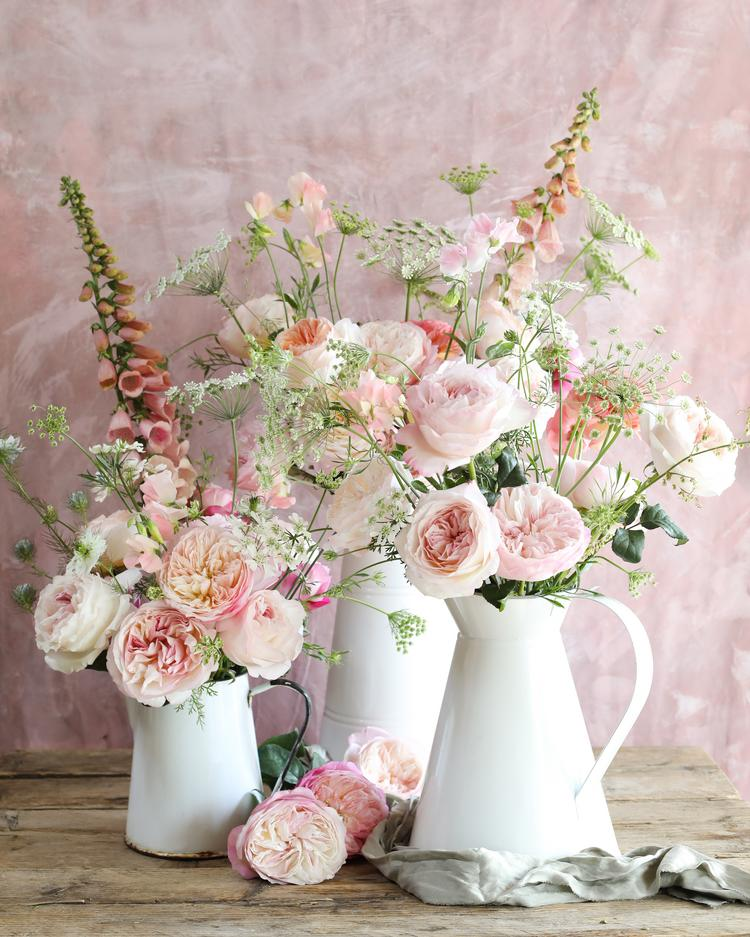 Mixed Pink Roses of Constance and Keira in White Jug Arrangement