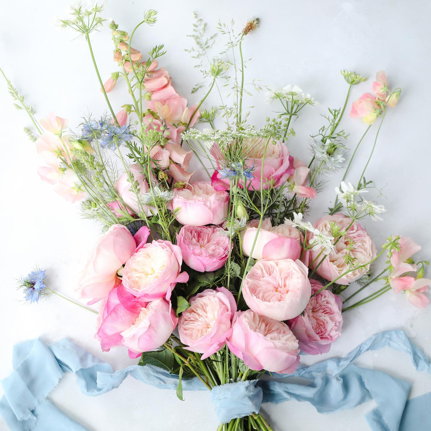 Pink Constance Roses in a Hand Tied Gift Bouquet