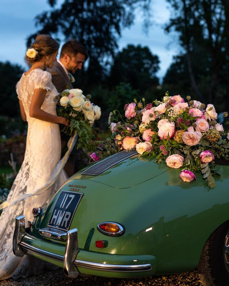 Vintage Wedding Car Floral Decorations with Constance and Keira Roses