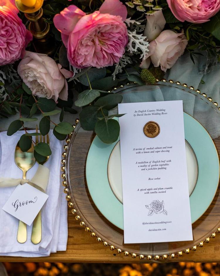 Wedding Menu Placement Setting Floral Design