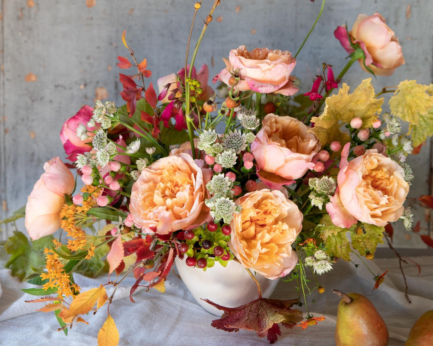Edith ROses in Small Urn Arrangement