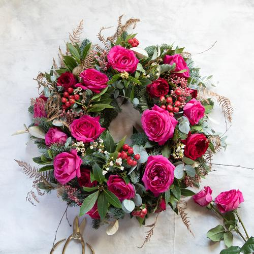 Capability Pink Roses Wreath Design