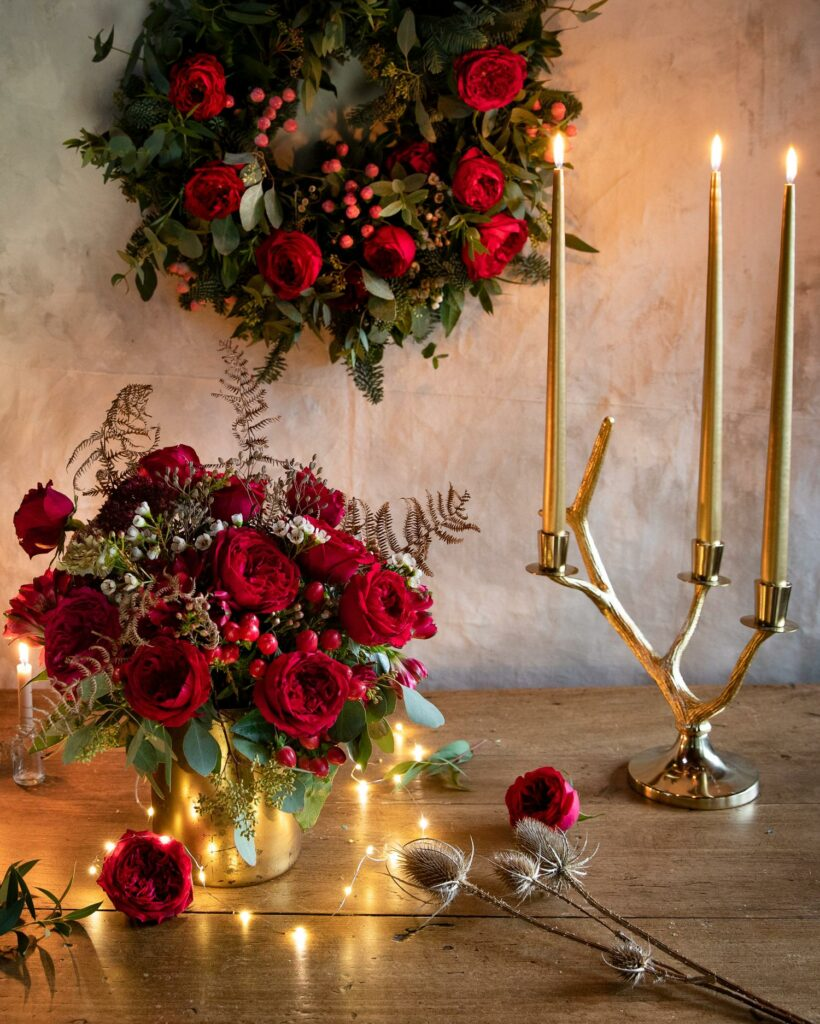 Tess Red Roses Wreath and Vase Arrangement Christmas Styling