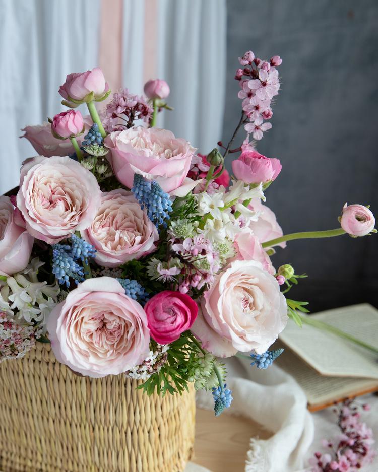 Keira Pink Roses Gift Basket