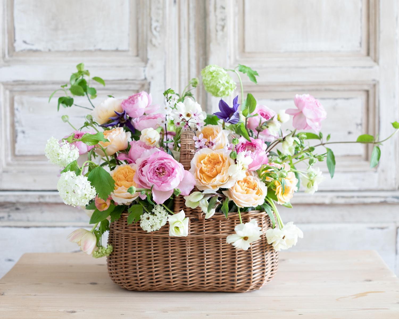 Basket of David Austin Wedding Roses