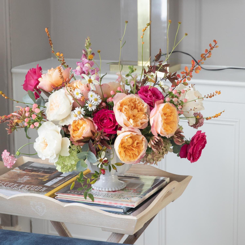 David Austin Rose Vase Arrangement