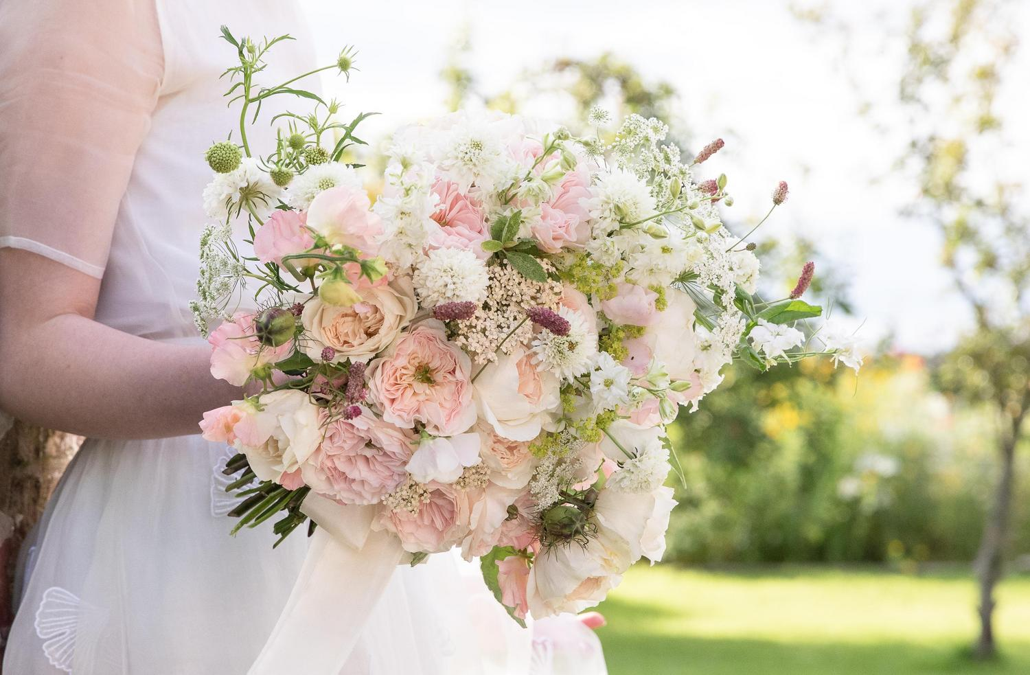 Summer Wedding Bouquet with Blush Roses