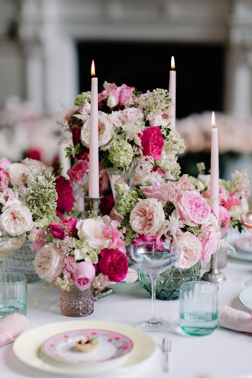 Bridal Shower Decorations with Pink Roses