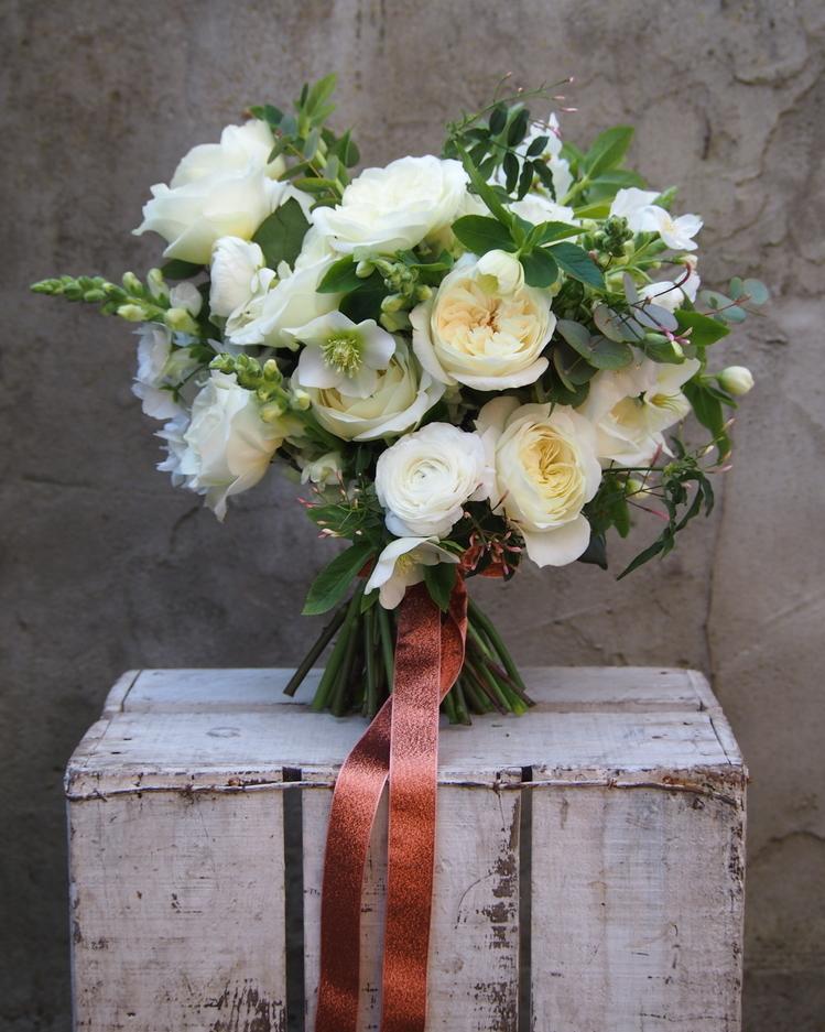 White Roses Wedding Bouquet Design