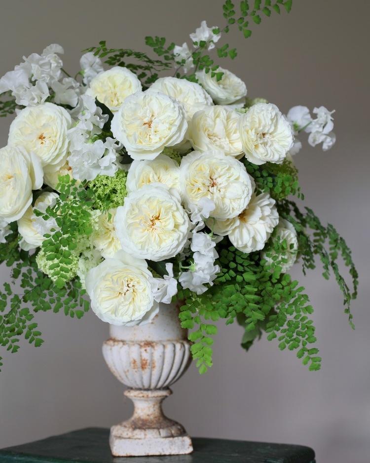 White Roses Wedding Urn Arrangement