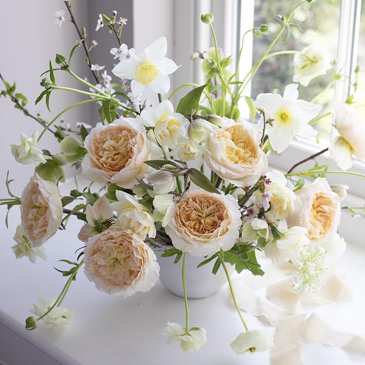 Beatrice roses in vase on windowsill