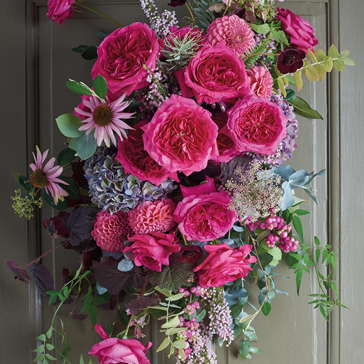 Capability pink roses door installation