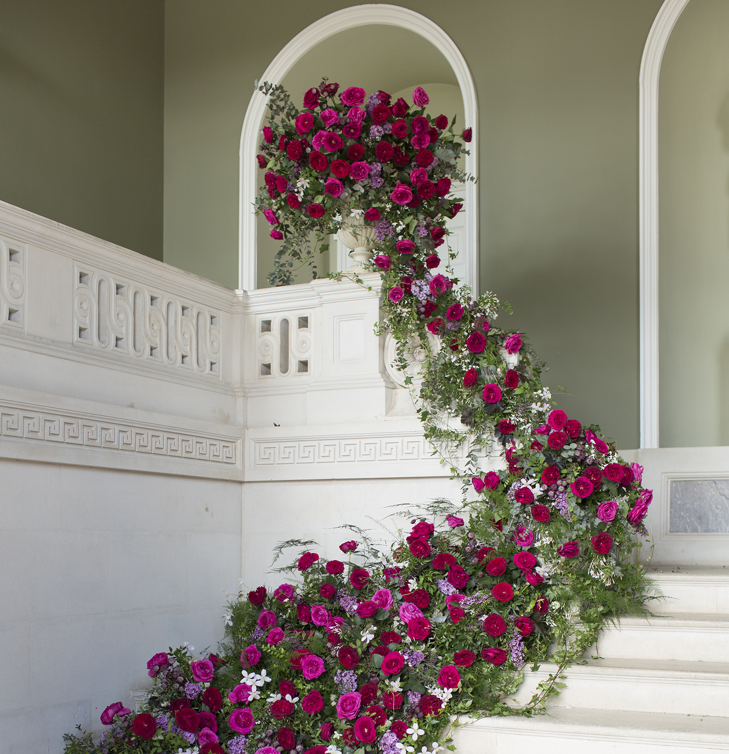 Capability roses staircase installation wedding
