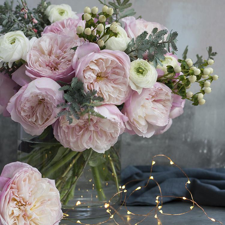 Constance roses large blooms vase arrangement fairy lights