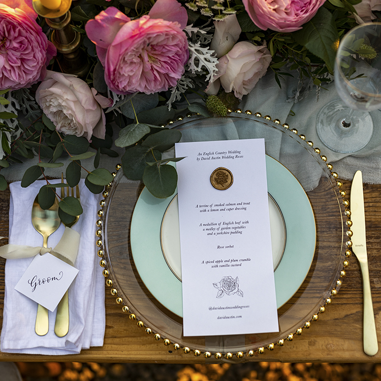 Constance roses wedding table setting florals menu