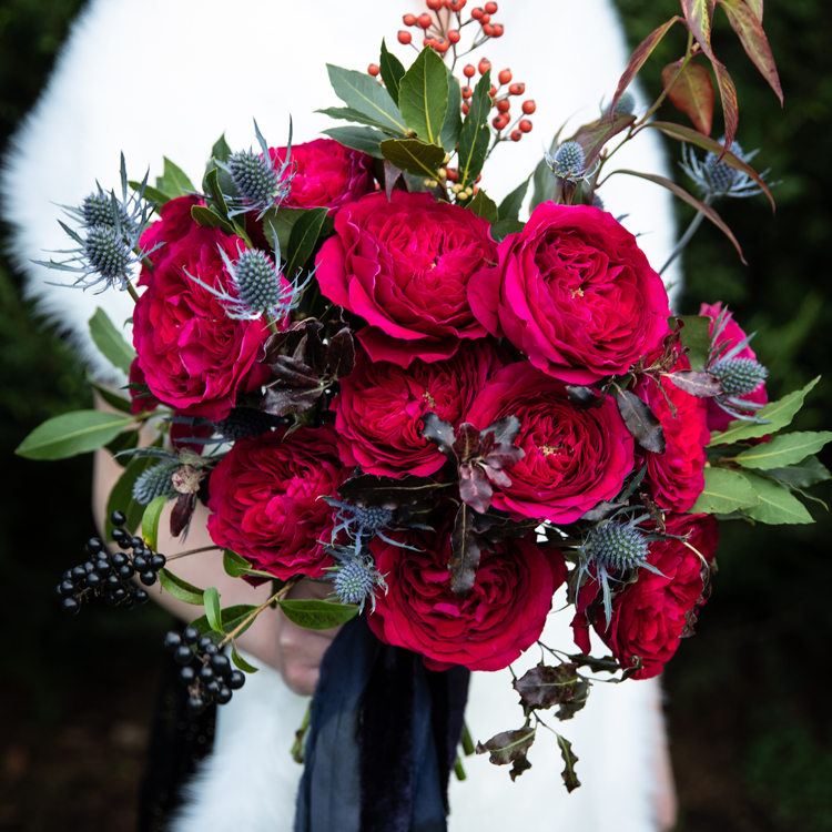 Darcey Red Roses for Winter Wedding Bride with White Fur Shawl