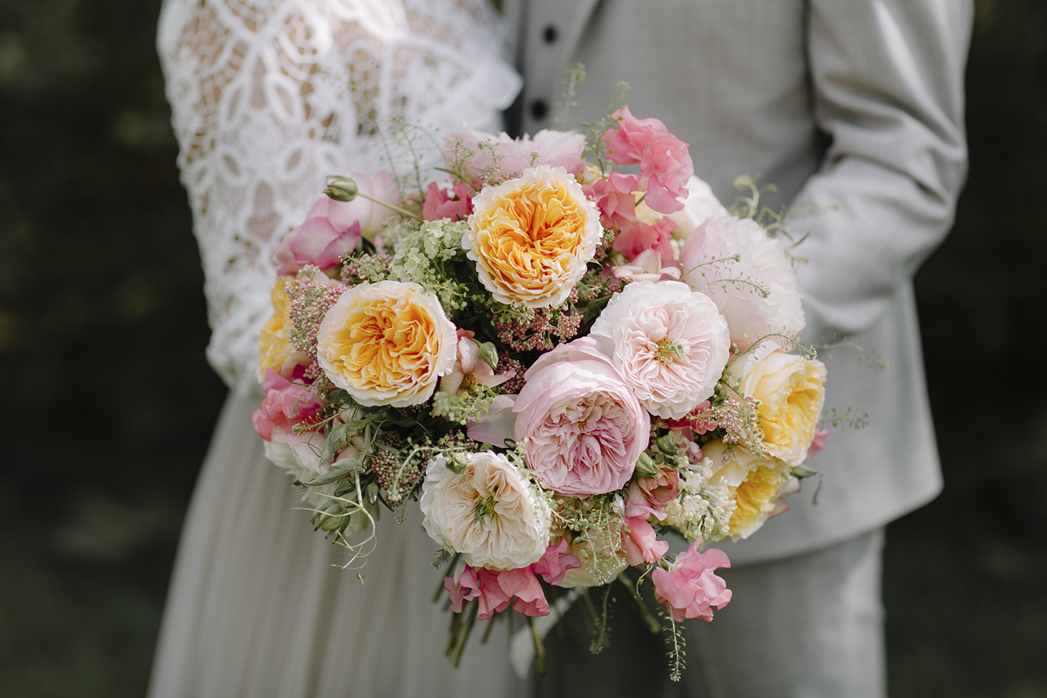 Beatrice Rose by David Austin in mixed wedding bouquet