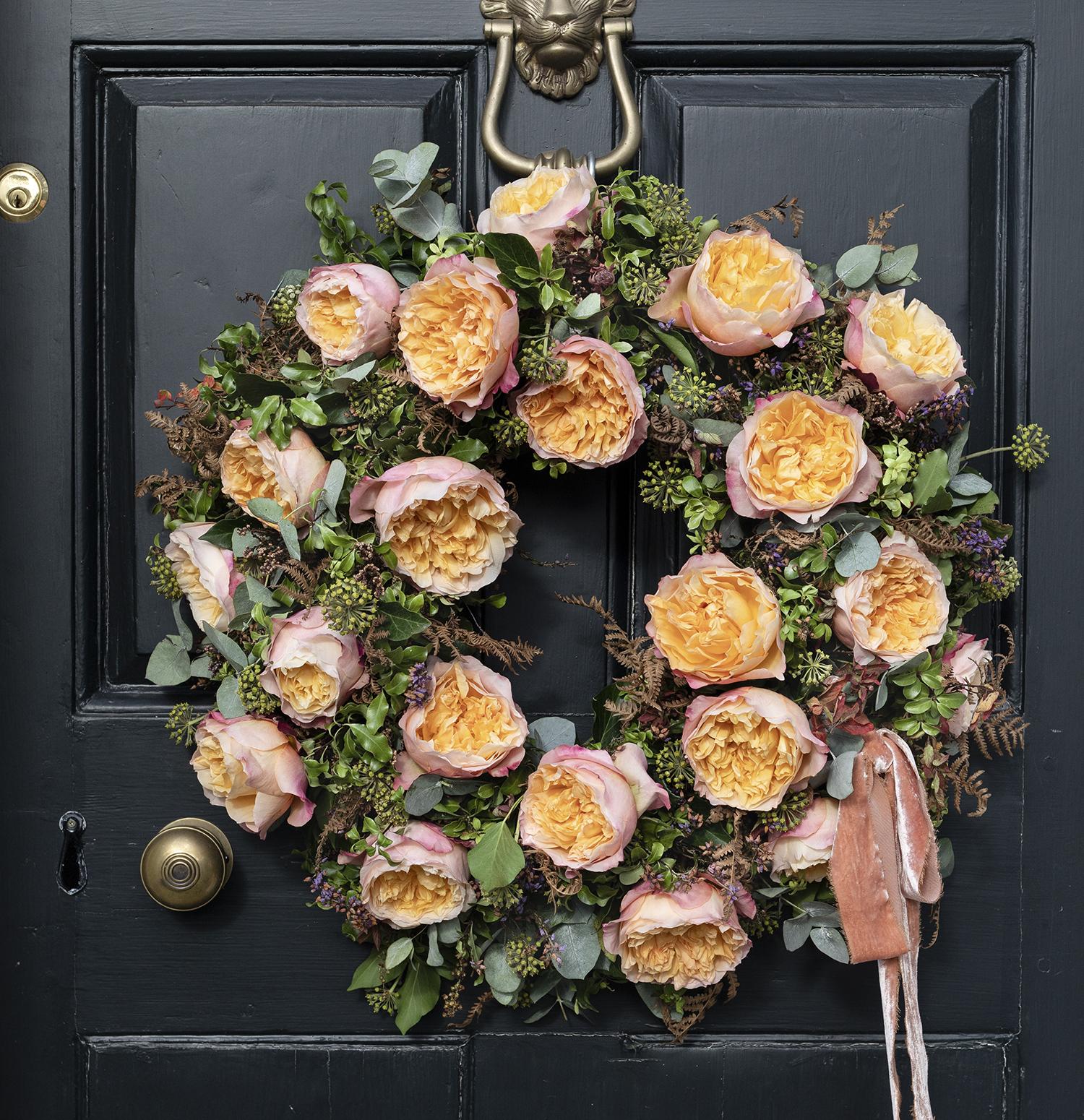 Edith roses door wreath design