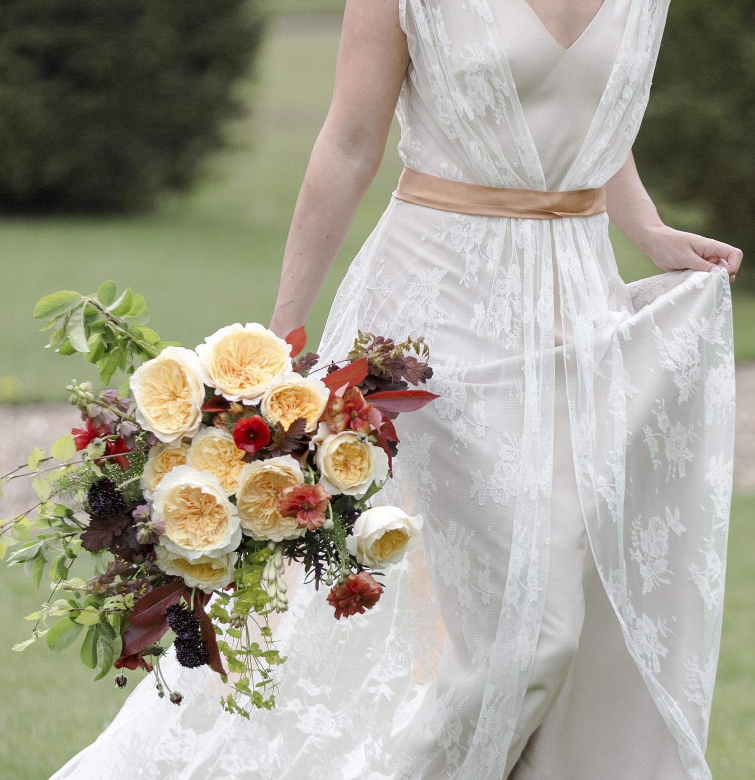 Effie David Austin Rose Autumnal Bridal Bouquet
