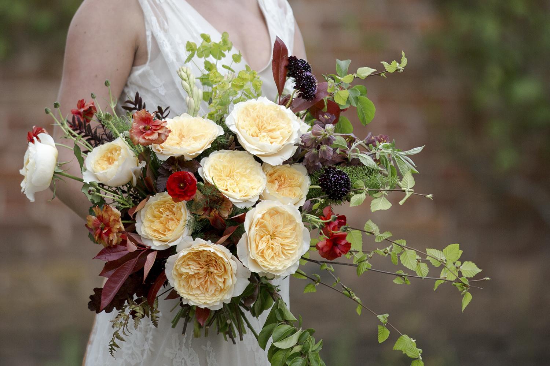 Effie David Austin Rose in- Bridal Bouquet with Poppies