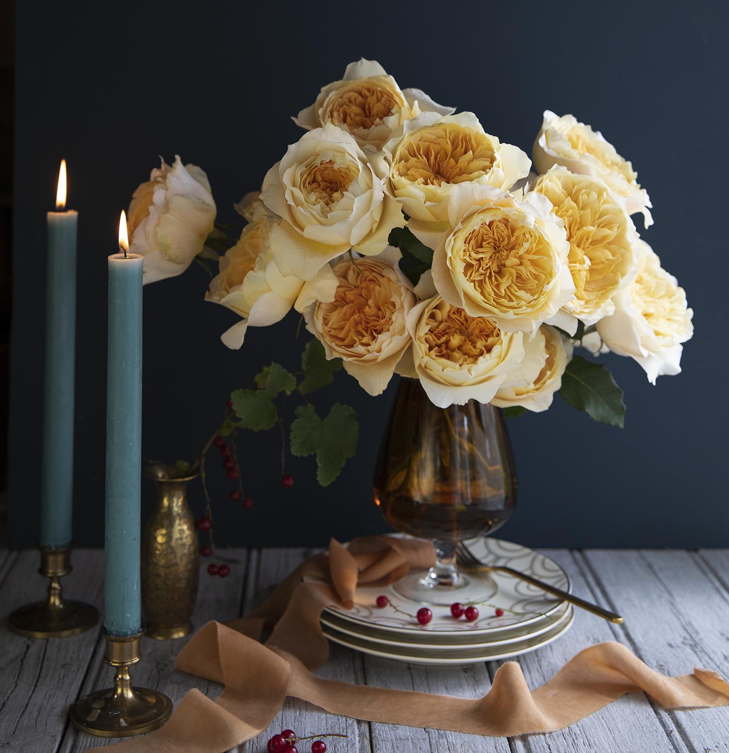 Effie David Austin Rose Table Arrangement