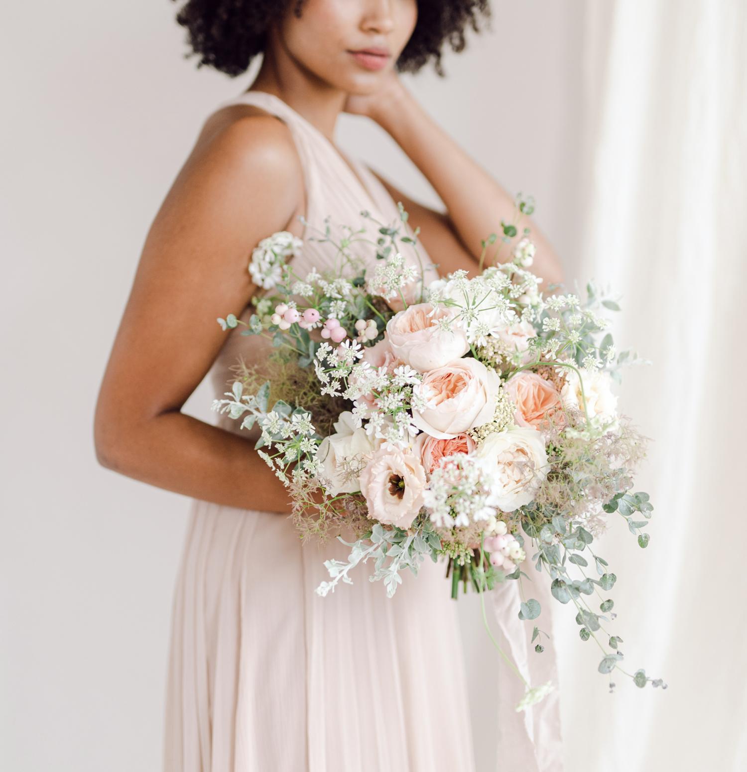 Juliet rose in wedding bouquet by Joseph Massey