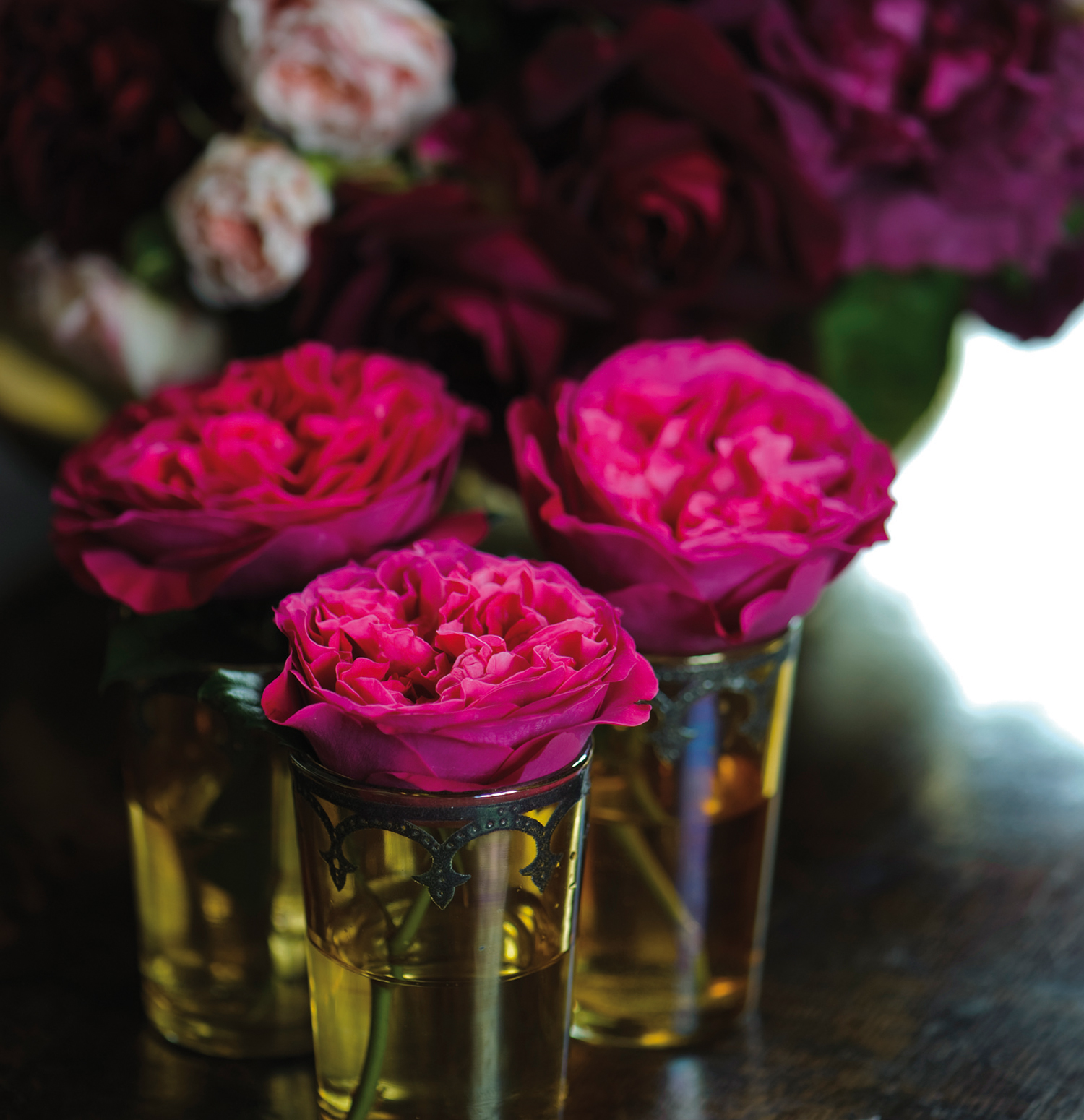 Kate Rose David Austin Single Roses in Shot Glass