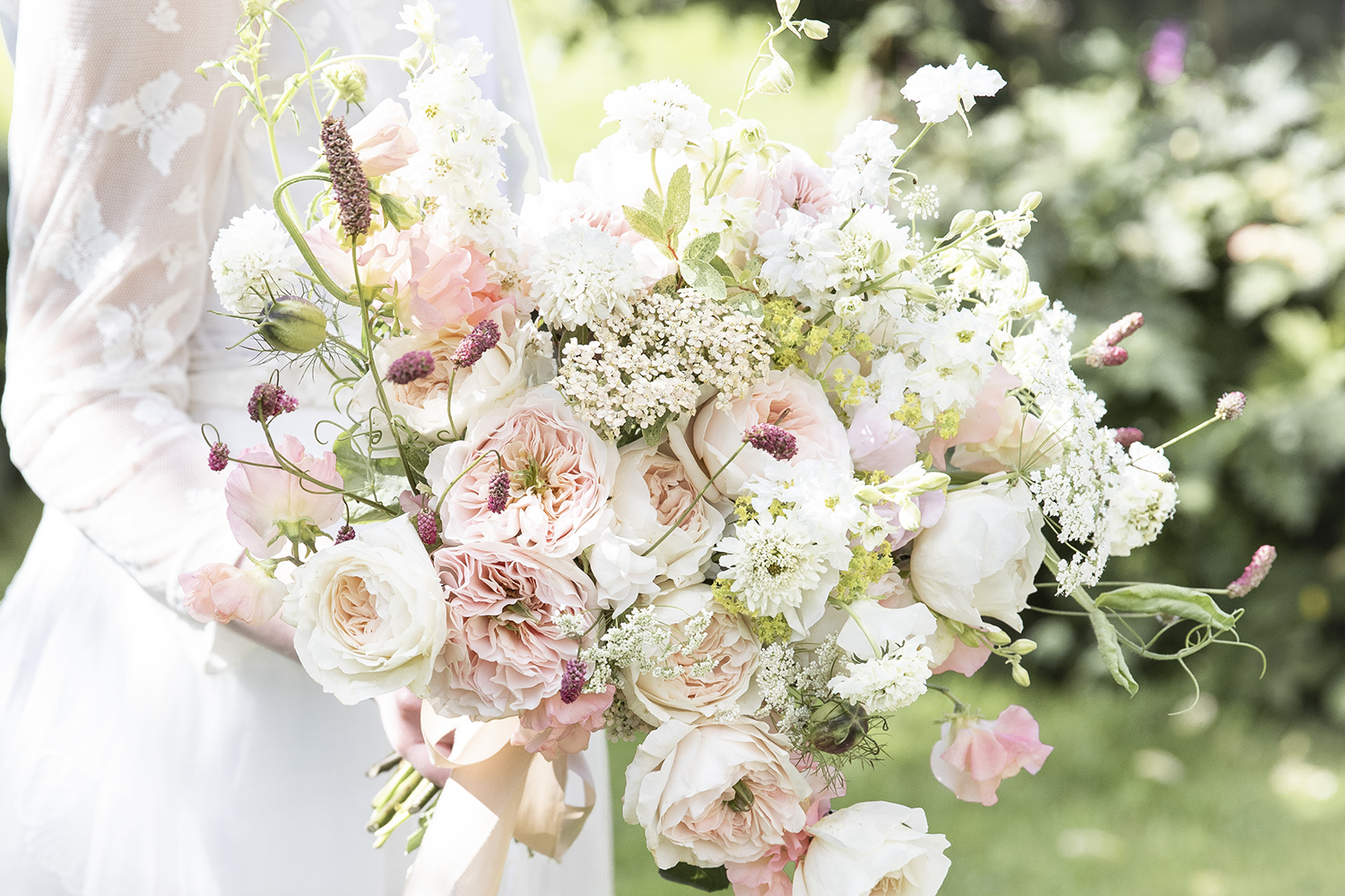 Charity rose in large wedding bouquet