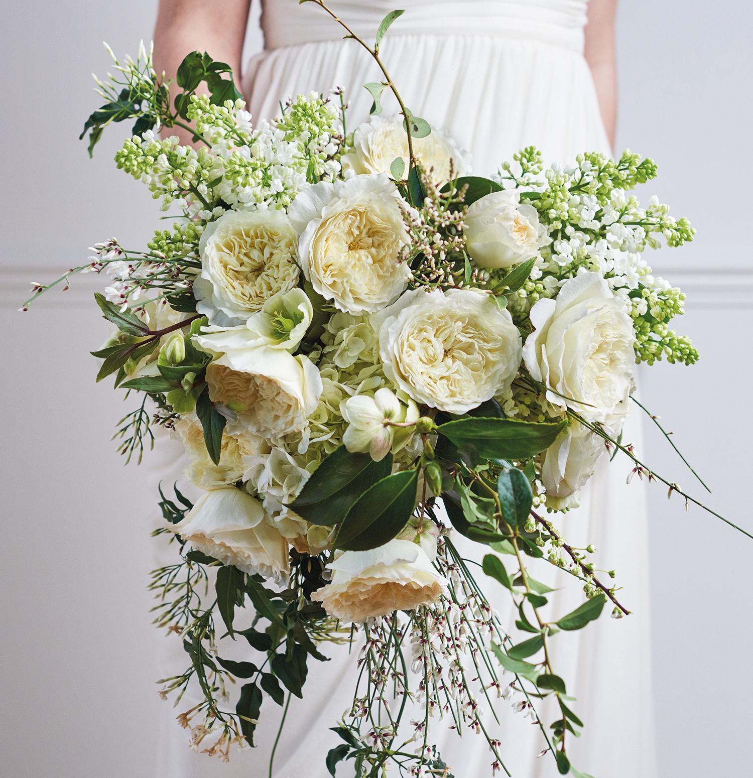 Patience cream roses wedding bouquet design
