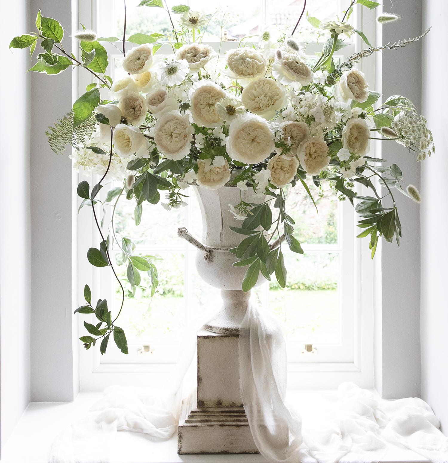 Patience cream roses wedding urn design