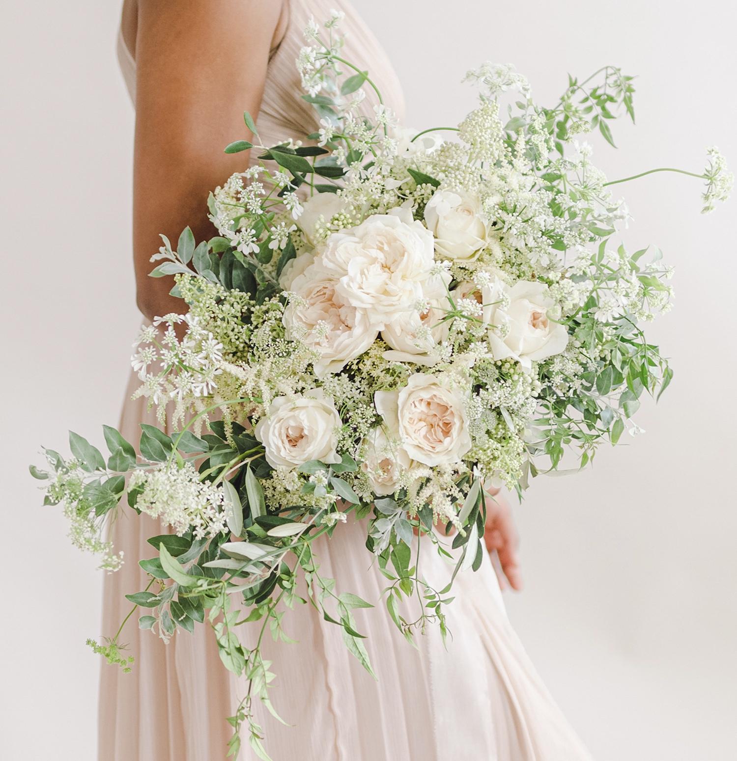 Purity blush modern bride wedding bouquet