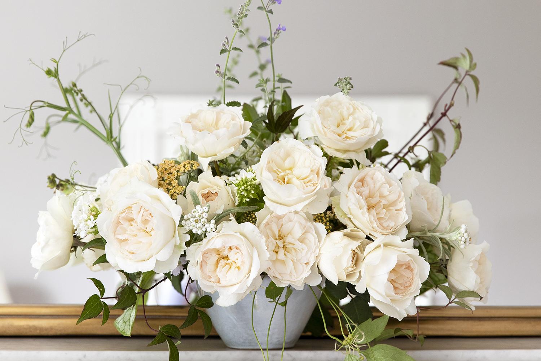 Purity blush roses urn mantlepiece design
