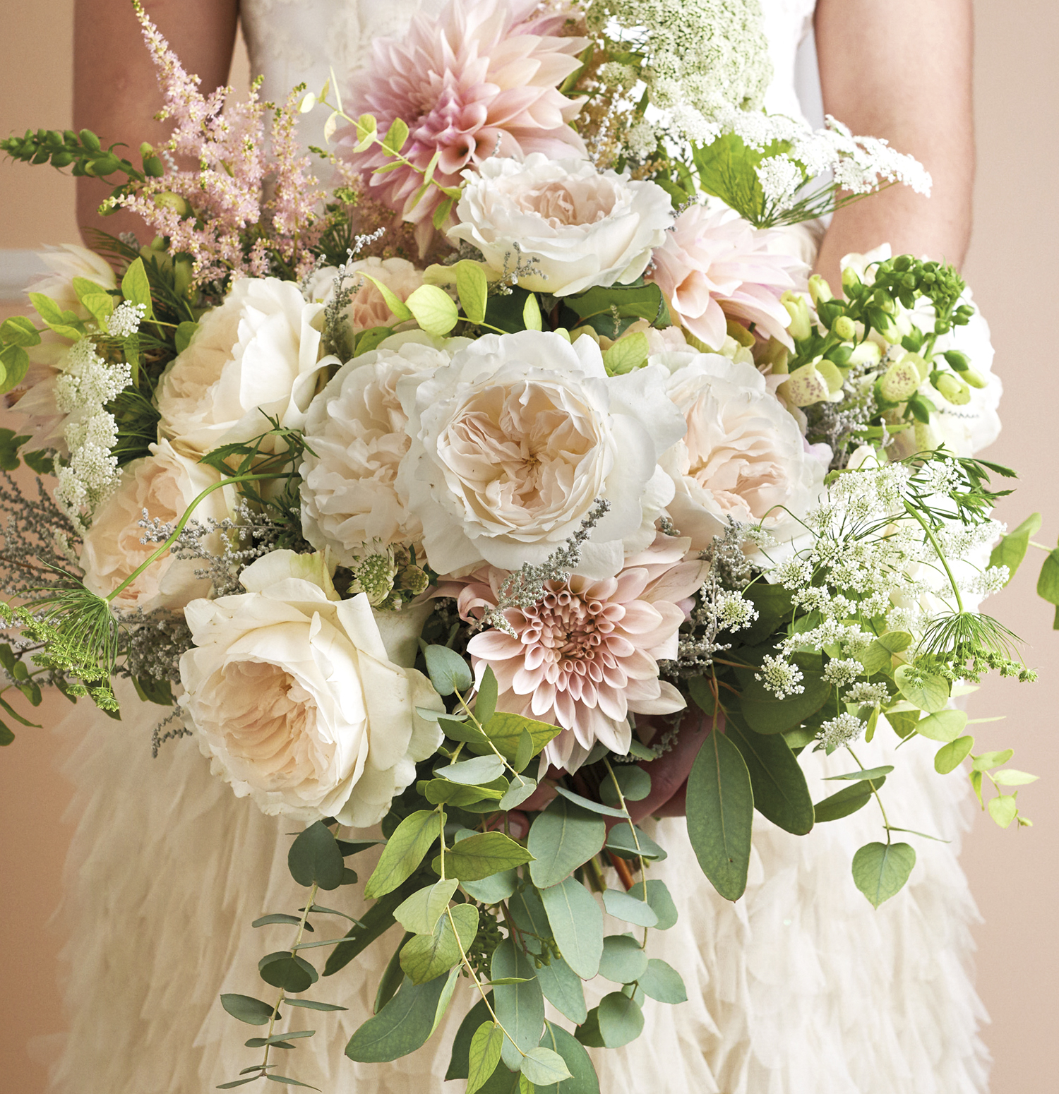 Purity blush roses wedding bouquet design