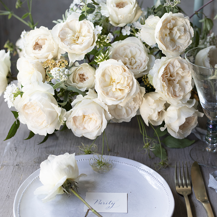 Purity blush roses wedding top table flowers